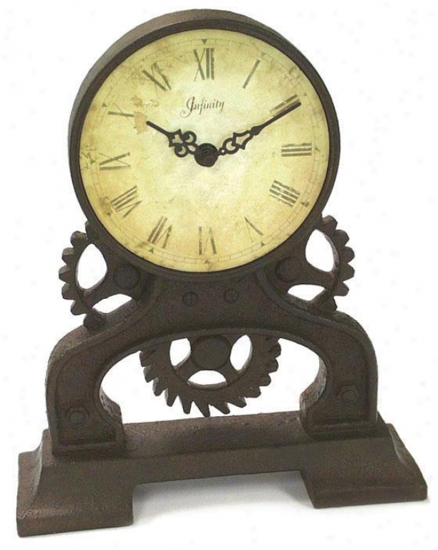 """rusty Gears Tabletop Clock - 12""""hx10.25""""w, Rst/antiqueidal"""