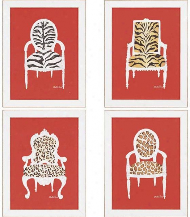 Safari Chairs Wall Art - Set Of 4 - Set Of 4, Red