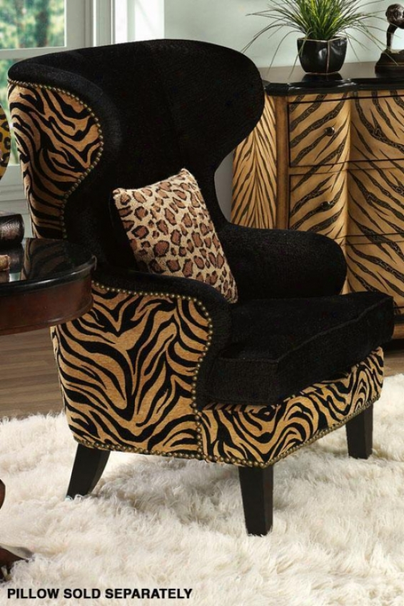 """safari Wing Back Chair - 44.5""""hx35""""w, Black"""