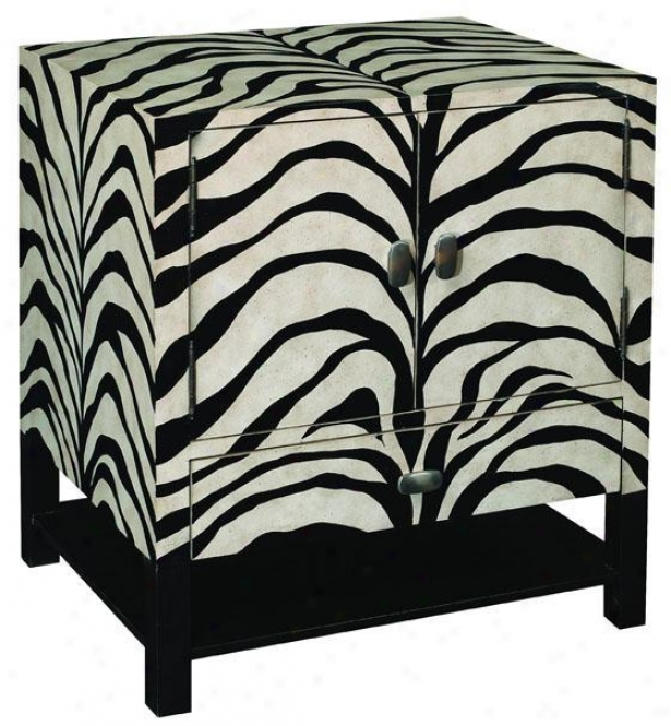 """safari Zebra Side End Table - 27""""hx24""""w, Black"""
