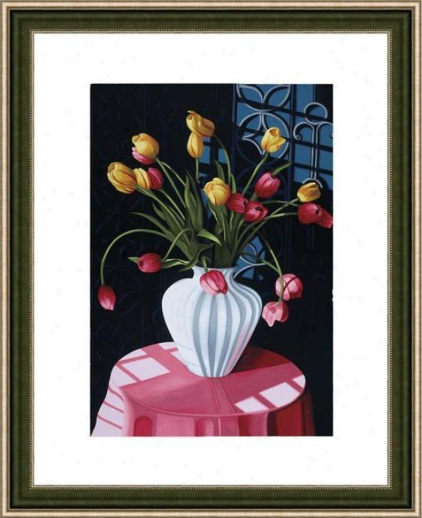 """san Marcos Tulips Frame Wall Art - 38""""hx29""""w, Mtd Atq Wln/slv"""