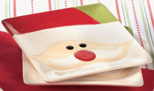 Santa Appetizer Plates - Set Of 4 - Set Of Foi5, Red