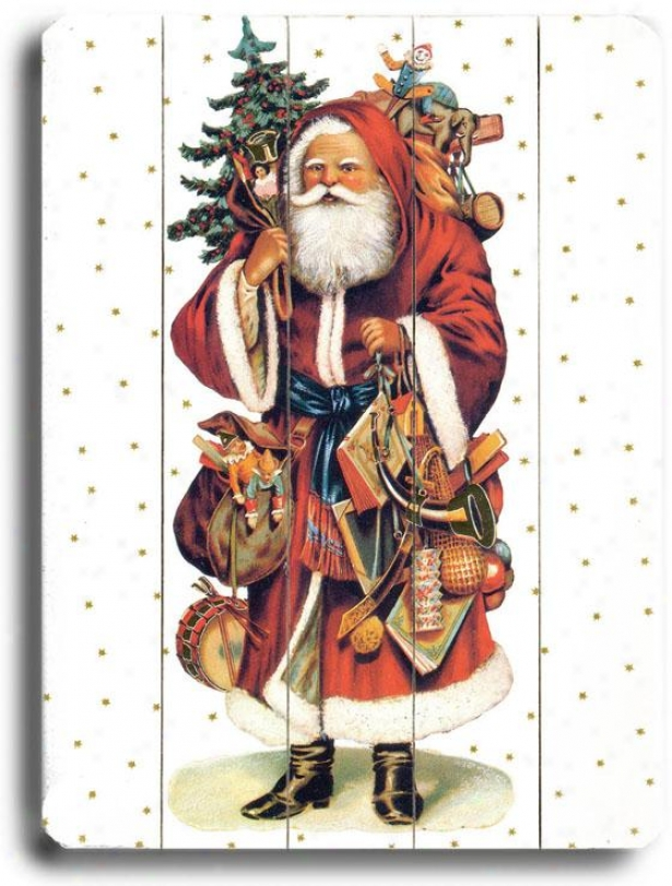 """santa Claus Carrying Gifts Art - 20""""hx14""""w, Holiday Multi"""