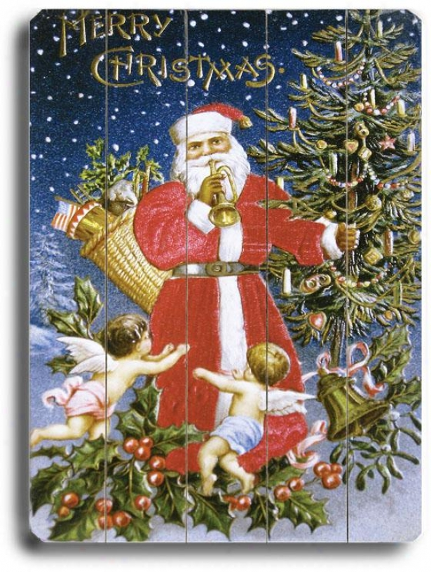 """santa Claus With Angel Babies Art - 24""""hx18""""w, Holiday Multi"""