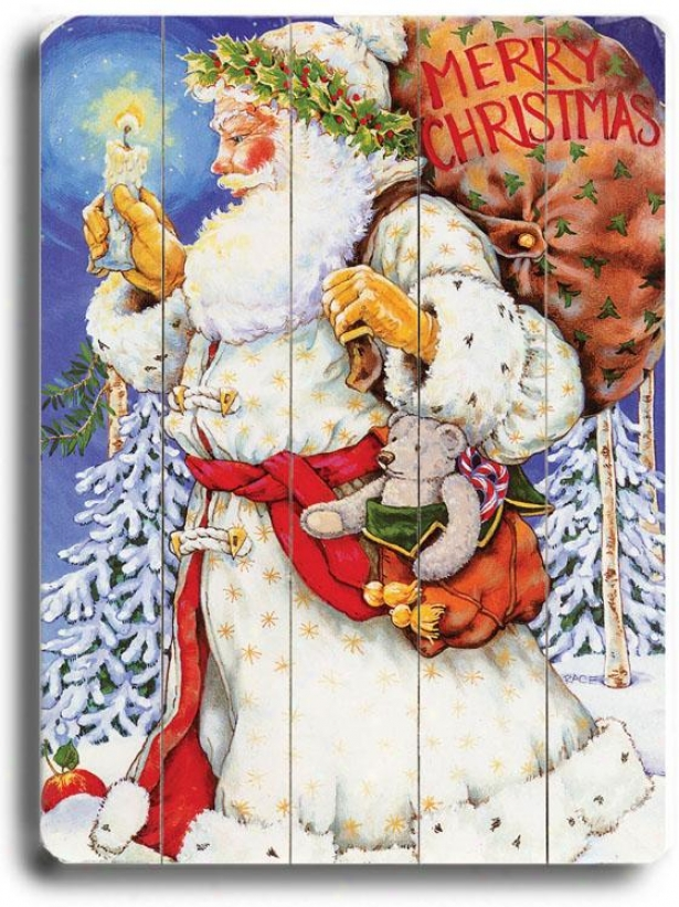 """santa Claus With Canndle Art - 40""""hx30""""w, Holiday Multi"""