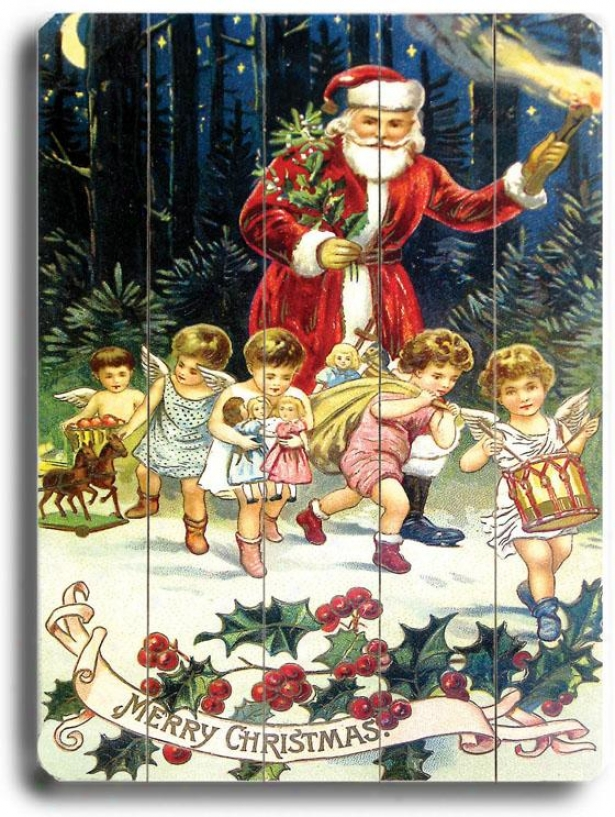 """santa Claus With Dancing Angels Art - 9""""hx12""""w, Holiday Multi"""