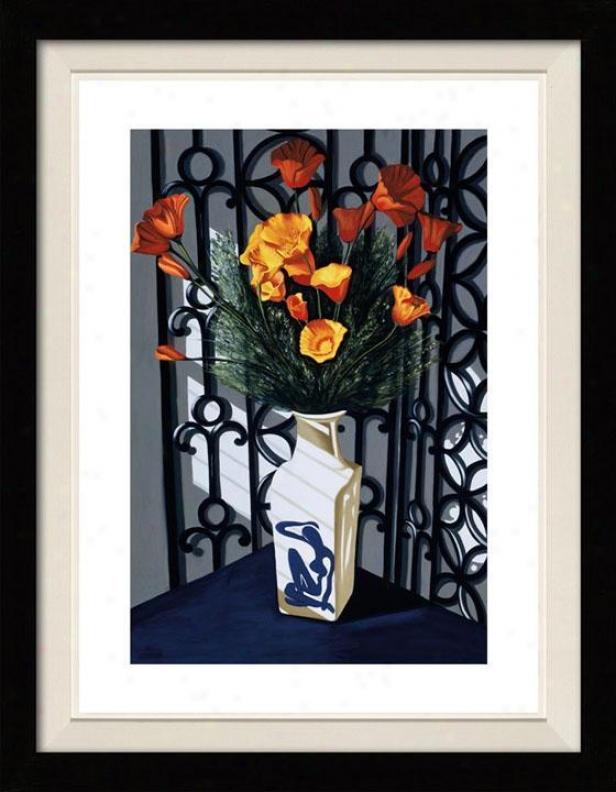"""santa Fe Poppies Framed Wall Art - 39""""hx30""""w, Floated Black"""