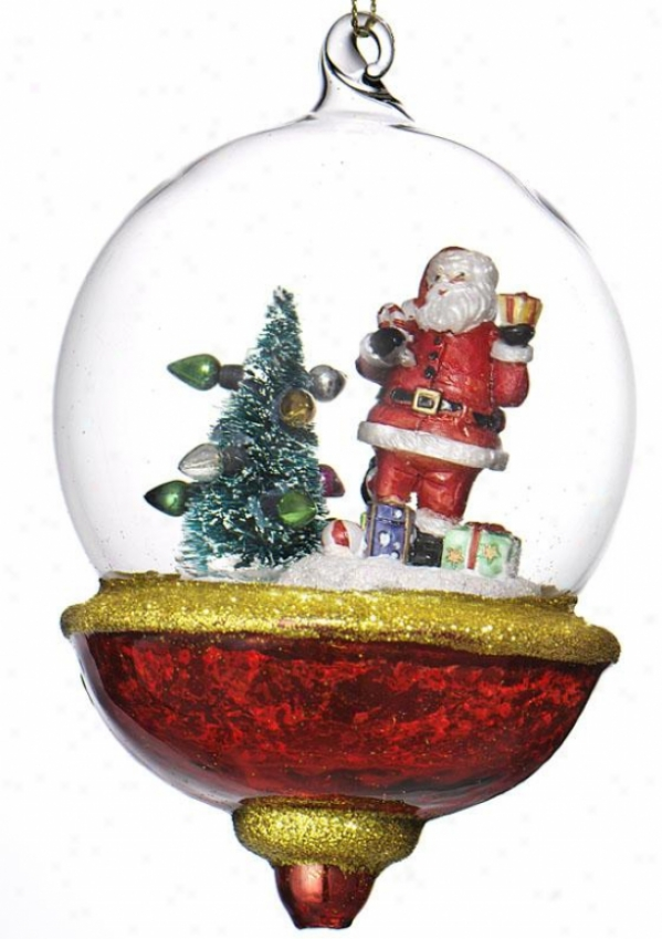 """santa Globe Ornament - 5.25""""x4""""x4"""", Multi"""