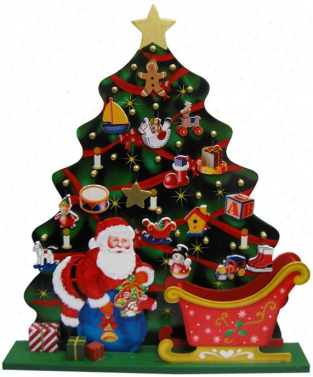 """santa & Tree Advent Calendar - 15.5""""hx13.5""""w, Mylti"""