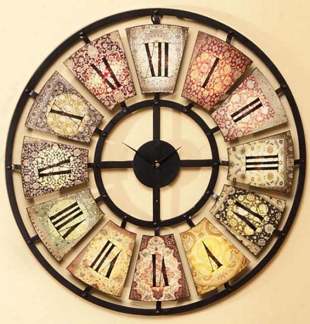 """sarita Metal Wall Clock - 24 X 2""""d, Multi"""