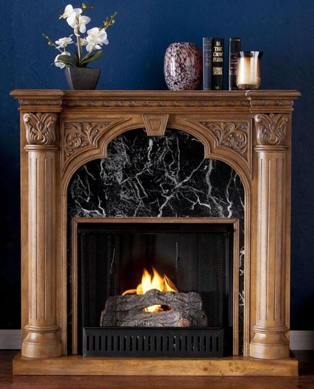 Savage Fireplace - Gel Fireplace, Oak/dark Gray