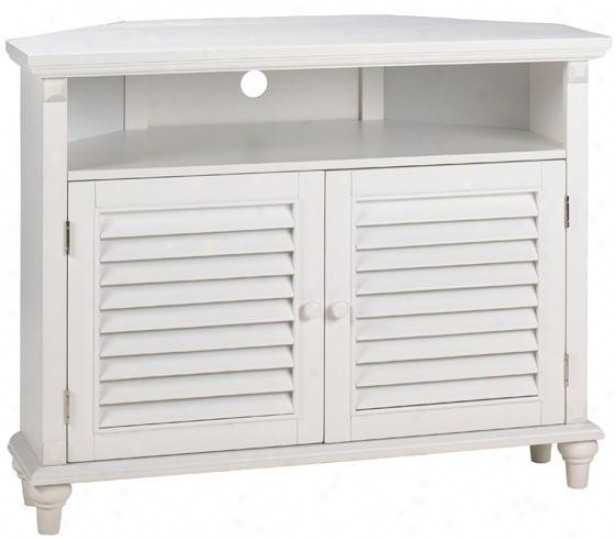 Savannah Louvered-door Corner Tv/dvd Cabinet - Nook, White