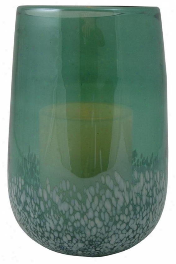 """savoy Flameless Hurricane Cajdle - 7.5h X 4.5w X5"""", Green"""