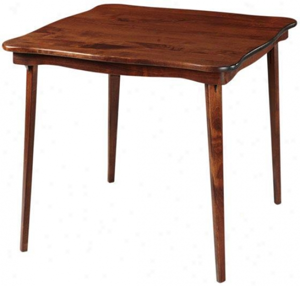 """scalloped All Wood Folding Table - 29""""hx32""""sq, Brick Red"""