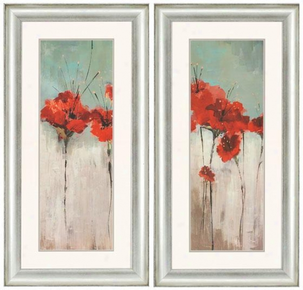 Scarlett's Garden Wall Art - Set Of 2 - Set Of 2, Red