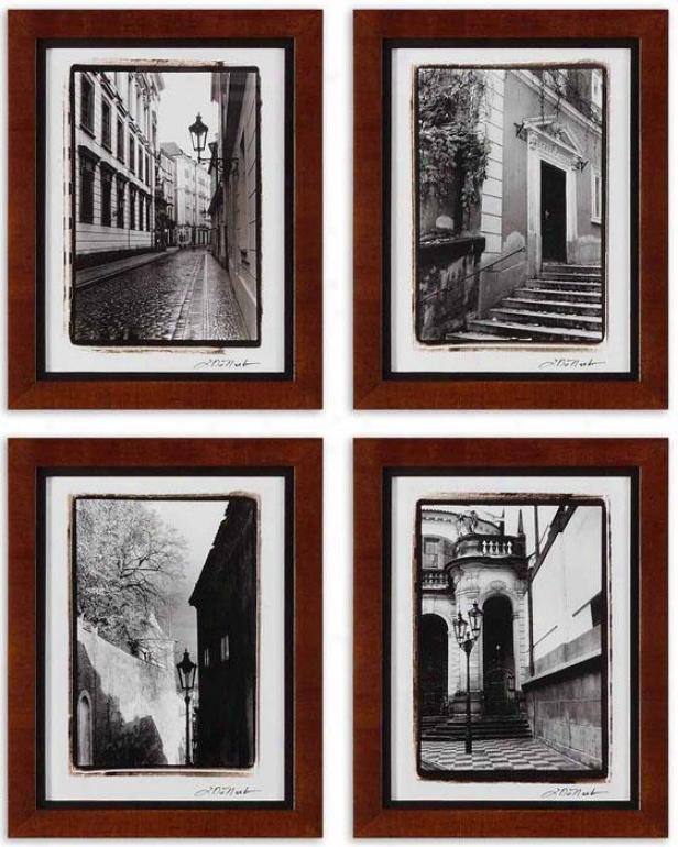 Scenes From Prague Wall Art - Set Of 4 - Set Of 4, Brown Wood