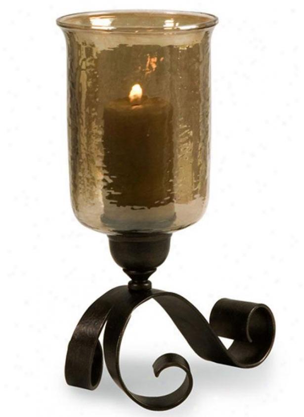 Flourish Base Hurricane Candleholder - Large, Bronze
