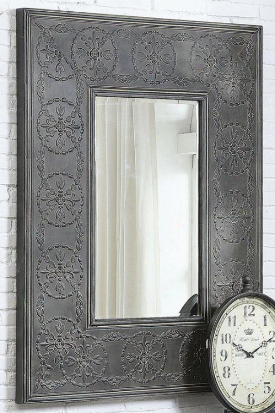 """scroll Metal Framed Mirror - 48.5""""hx37""""wx2""""d, Charcoal Gray"""