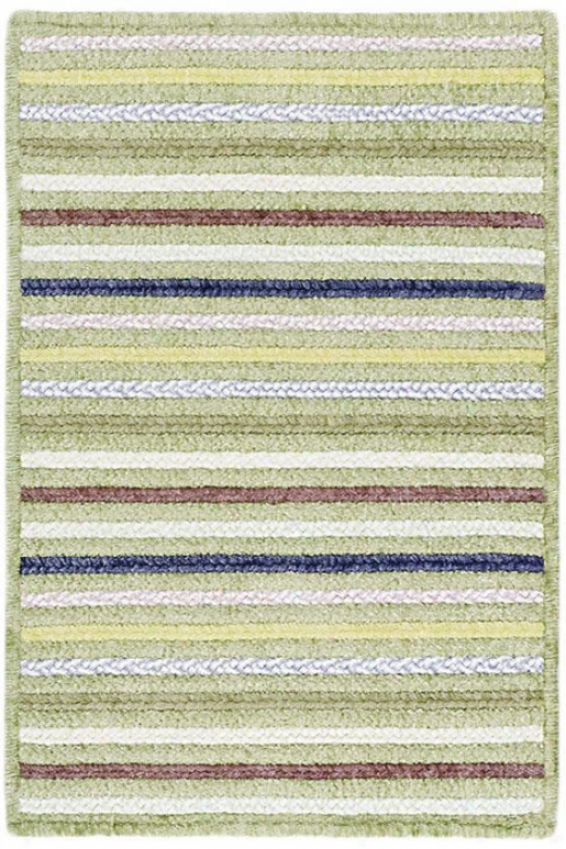 Seascape Rectangular Braided Area Rug - 2'x6' Runner, Sage