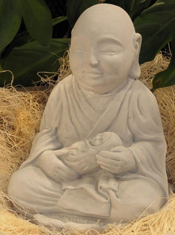 Seated Monk Statue - 14hx7.5wx8d, Antique Gray