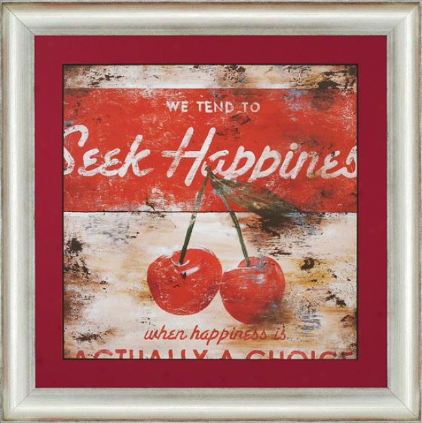 """seek Happiness Wall Art - 34""""squarex2""""d, Red"""