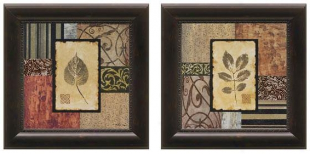 September Leaves Framed Wall Art - Set Of Two, Brown