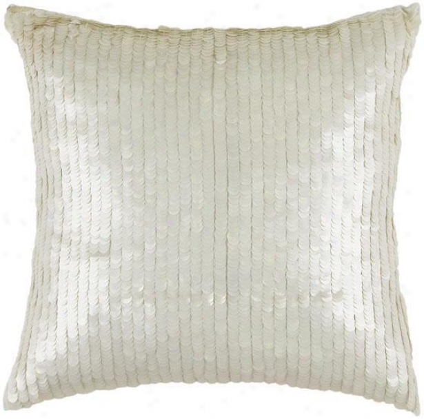 """sequin Pillow - 18"""" Square, White"""
