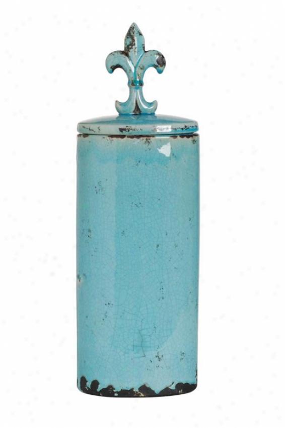 """seraphina Lidded Jar - Short 6.5x20""""h, Thrquoise"""