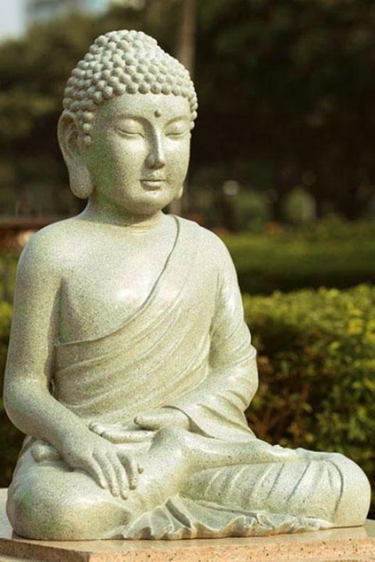 """Calm Garden Buddhaa - 22""""hx16.5""""wx15"""", Green"""