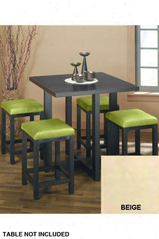 Set Of Four Square Counter Stools - Set Of Four, Beige