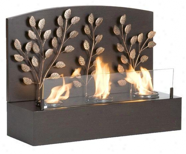 """sharkn Wall Mount Fireplace - 25""""wx18.5""""h, Coffee Brown"""