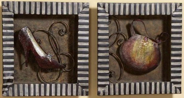 """shopping Trip Wall Sculptures - Set Of 2 - 15""""sqr X 1.5""""d, Ivory"""