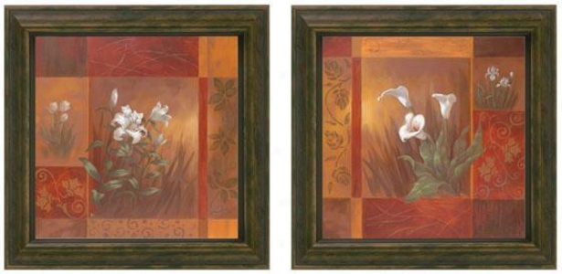 Showcase Calla Lilies Framed Wall Art - Set Of 2 - Set Of Two, Burgundy