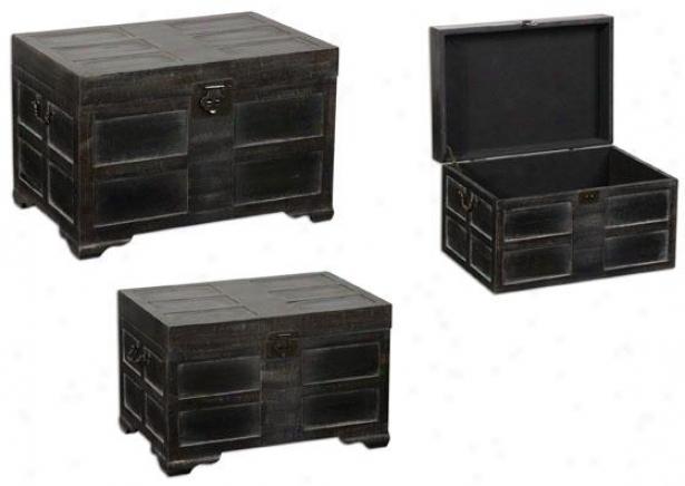 Sidony Trunks - Set Of 3 - Set Of 3, Antiqued Black
