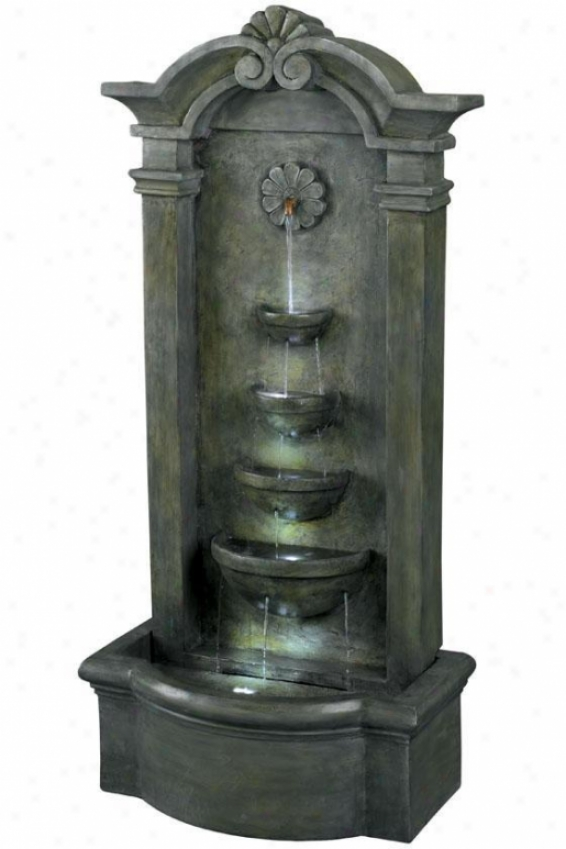 """sienna Outdoor Floor Fountain - 46""""hx25""""w, Mossy Stone"""