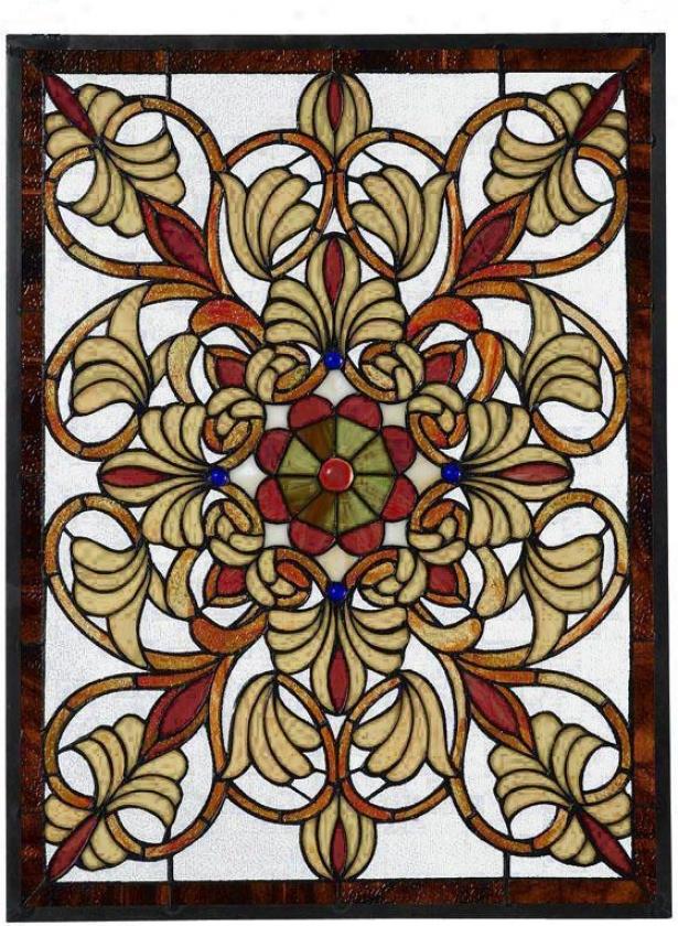 Signet Medium Rectangular Tiffany-sthle Stained Art Glass Window Panel - Med. Rectangula, Multi