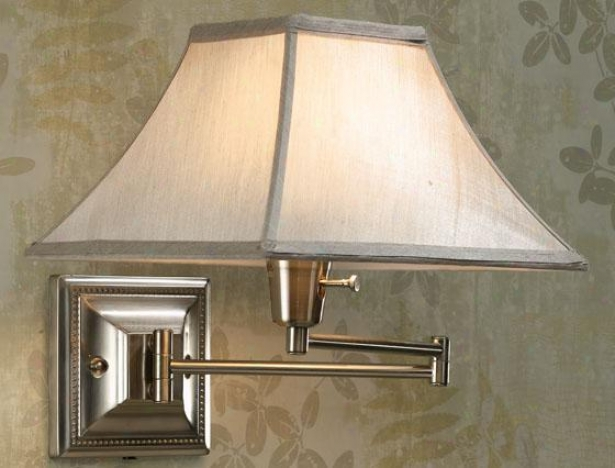 Silver/taupe Kingsron Swing-arm Pin-up Lamp - Silver/taupe, Grey Hardness