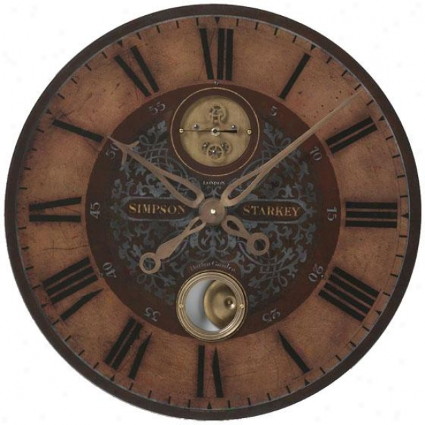 """simpson Starkey Wall Clock - 23 X 23 X 2.75"""", Weathered Brass"""