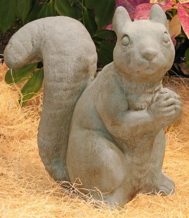 Sitting Squirrel Statue - 10.5hx5.5wx9d, Antique Gray