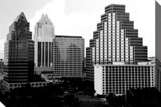 """skyline Austin Canvas Wall Art - 48""""x32""""w, Black"""