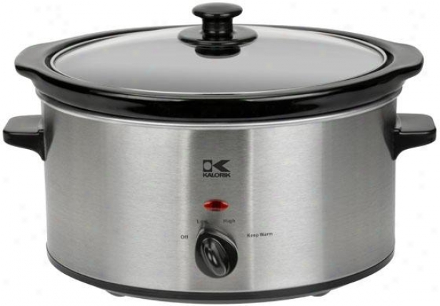 Slow Cooker - 8.75hx10wx13.25, Red/stainless
