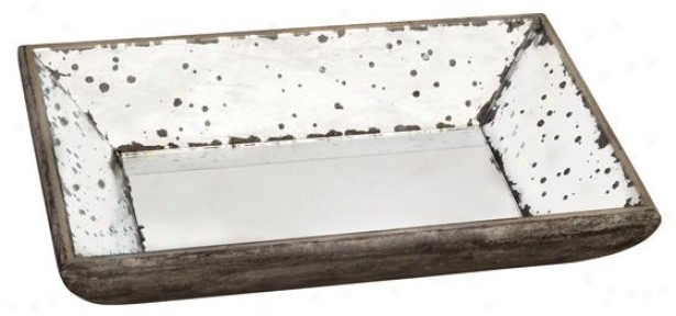 """small Roberto Glass Tray - Small 13""""x9"""", Antiqued Mirror"""