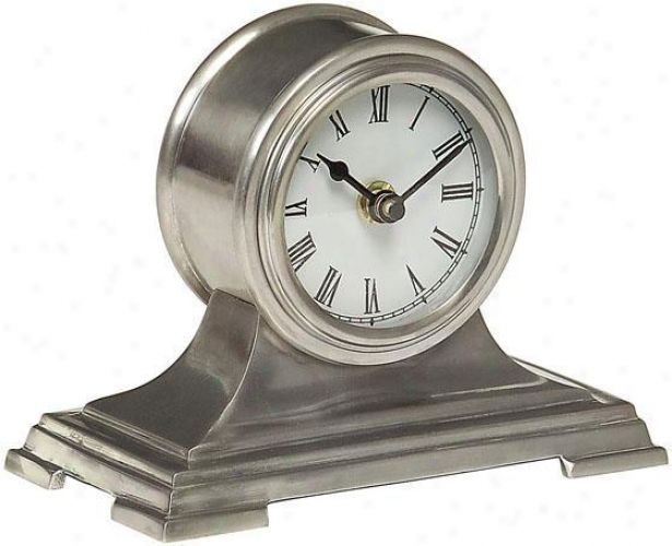 """small Silver Deso Clock - 5""""hz6.5""""w, Gray"""