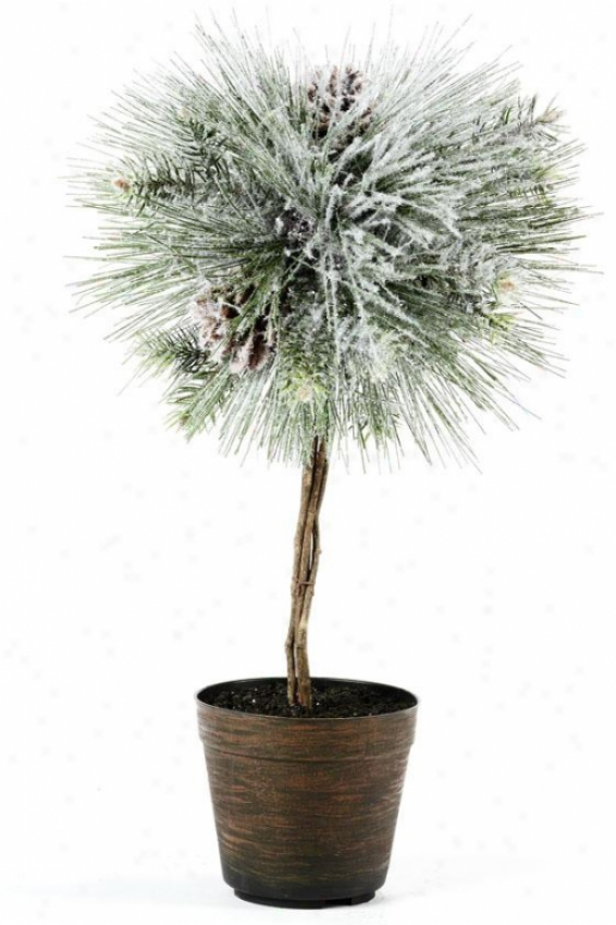 """snow Longleaf Topiary Ball - 11""""x11""""x19.5"""", Green"""