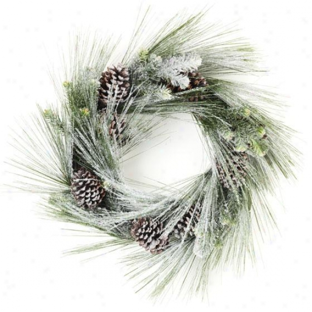 """snow Longleaf Wreath - 30""""hx30""""wx6""""d, Green"""