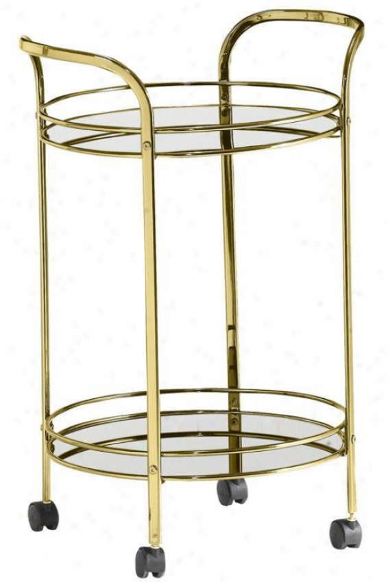Soho Round Beverage Cart - Clear Glass, Copper Brass