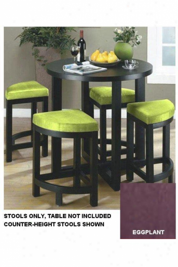 Soho Set Of Four Chair-height Nesting Stools - Forest Leg, Eggplant