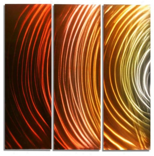 Solar Wall Sculpture - Set Of 3 - 44hx42wx1, Mult