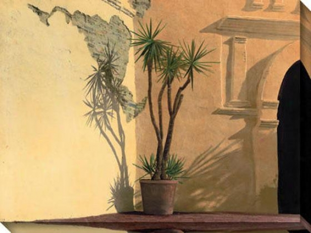 Solitary Palm Ii Canvas Wall Art - Io, Gold