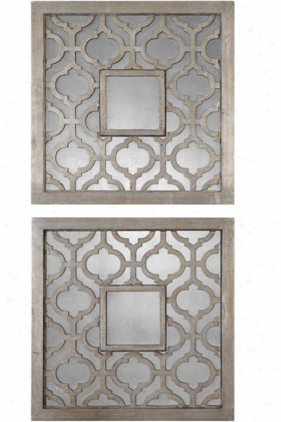 """sorbolo Square Mirror - Set Of 2 - 20"""" Square Each, Silver"""